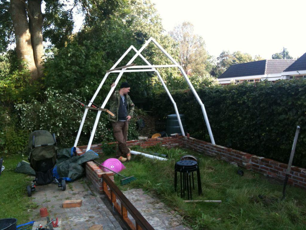De bouw van onze kas in 2012